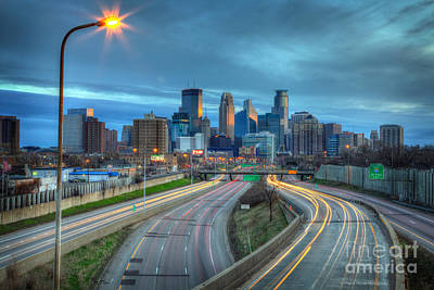 Fine Art Photograph - Downtown Minneapolis Skyline From 35w  by Wayne Moran