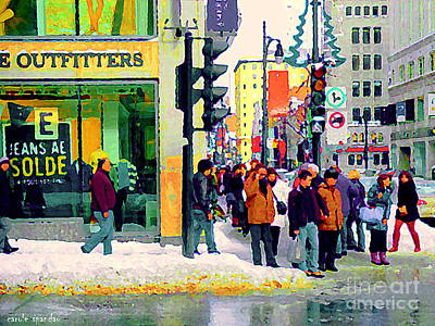 Montreal Winter Scenes Painting - Downtown Montreal Winter Scene American Eagle Outfitters St Catherine Busy Sidewalk Scene C Spandau  by Carole Spandau