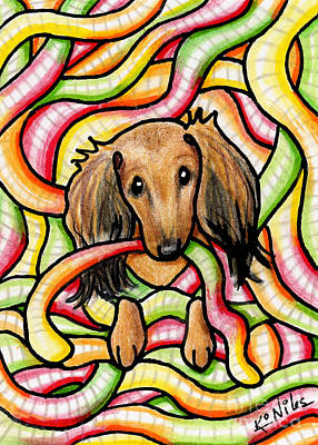 Doxie In Candy Worms Original by Kim Niles