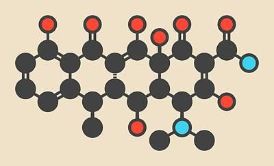 Anthrax Photograph - Doxycycline Antibiotic Drug Molecule by Molekuul