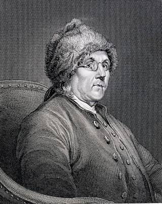 Dr Benjamin Franklin Print by English School