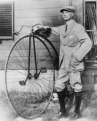 Antique Automobile Photograph - Dr. Kendall With His Bicycle by Underwood Archives