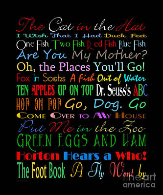 Book Title Digital Art - Dr Seuss Books 1 by Andee Design