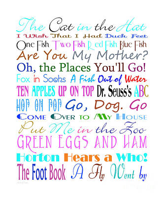Book Title Digital Art - Dr Seuss Books 3 by Andee Design