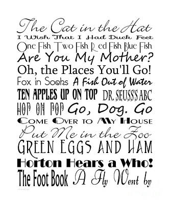 Book Title Digital Art - Dr Seuss Books 4 by Andee Design