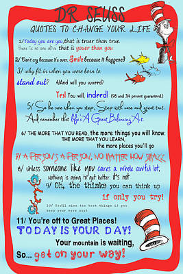 Dr Seuss - Quotes To Change Your Life Print by Nomad Art
