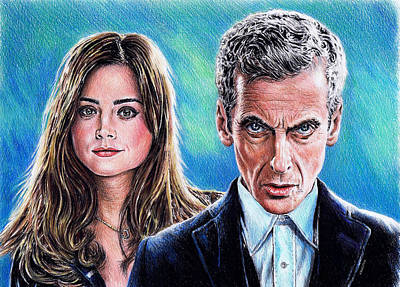 Blue And Grey Drawing - Dr Who And Clara by Andrew Read
