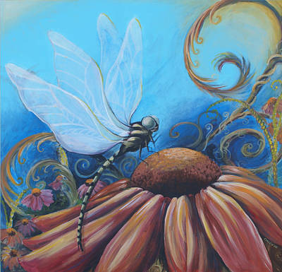 Abstracted Coneflowers Painting - Dragon Fly by Coreen Wasilkoff