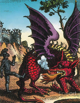 Dragon Of Wantley, 16th Century Print by Photo Researchers