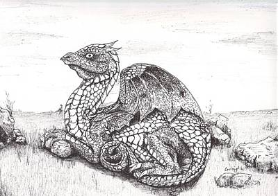 Dragon Drawing - Dragon On Watch by Celia Fedak