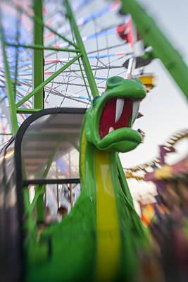Ferris Wheel Photograph - Roar Too The Green Dragon Ride by Scott Campbell