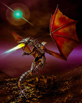 Fire Digital Art - Dragon Rider by Bob Orsillo