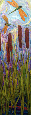 Dragonflies And Bulrushes Print by Paris Wyatt Llanso