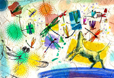 Garden Scene Mixed Media - Dragonflies And Dog by Nato  Gomes