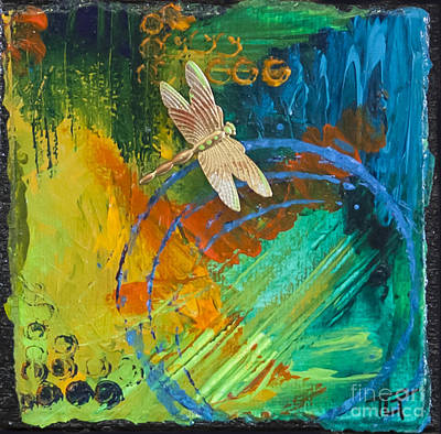 Metal Dragonfly Painting - Dragonfly Abstract by Tracy L Teeter