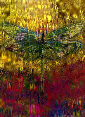 Dragonflies Painting - Dragonfly - Rainy Day  by Jack Zulli