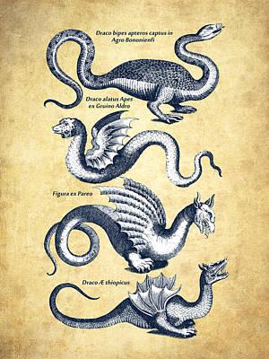 Dragons - Historiae Naturalis  - 1657 - Vintage Print by Aged Pixel