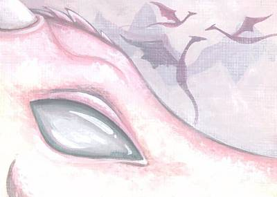 Dragon Eye Painting - Dragons Of The Misty Rose Mountains by Elaina  Wagner