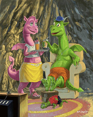 Dragons Relaxing At Home Print by Martin Davey