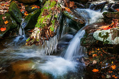 Dragons Teeth Icicles Waterfall Great Smoky Mountains Painted  Print by Rich Franco