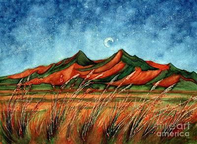 Prairie Sunset Painting - Dragoon Mountains Southwest Az by Janine Riley