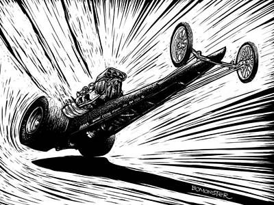 Hot Rod Drawing - Dragster Launch by Bomonster