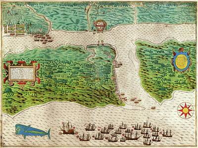 Drake Photograph - Drake's Attack On Saint Augustine by Library Of Congress, Rare Book And Special Collections Division
