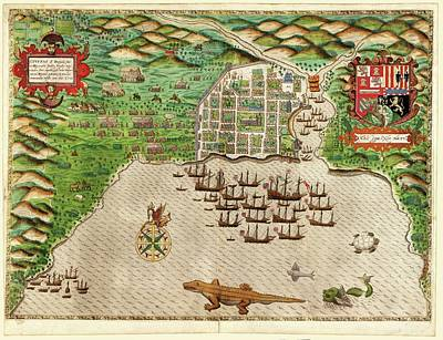 Drake Photograph - Drake's Attack On Santo Domingo by Library Of Congress, Rare Book And Special Collections Division