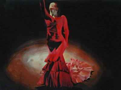 Acrylic Painting - Dramatic In Scarlet by Cherise Foster