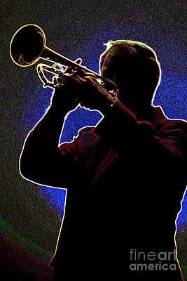 Trumpet Drawing - Drawing Of A Silhouette Of Trumpet Player In Color 3019.03 by M K  Miller