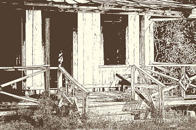 Drawing Of An Old House With Porch In Brown 3000.04 Print by M K  Miller