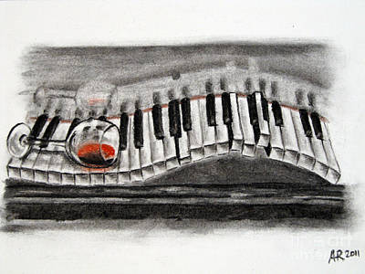 Red Wine Drawing - The Piano Has Been Drinking... by A R