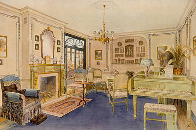Interior Design Drawing - Drawing Room Adam Revival Style by Richard Goulburn Lovell