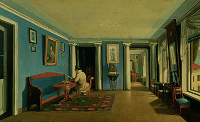 Perspective Painting - Drawing Room With Columned Entresol  by Kapiton Alekseevich Zelentsov