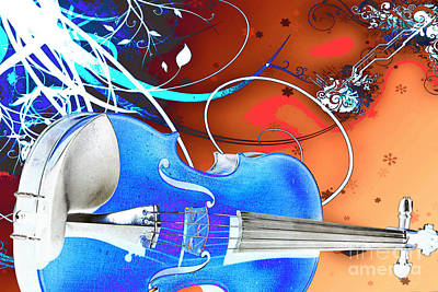 Violin Digital Art - Drawing Violin Viola From Fantasy World In Color 3066.03 by M K  Miller