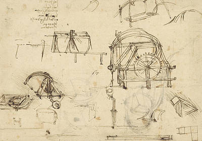 Da Vinci Reproductions Drawing - Drawings Of Geometric Figures List Of Botanical Terms Sketches Of Construction Of Onager  by Leonardo Da Vinci