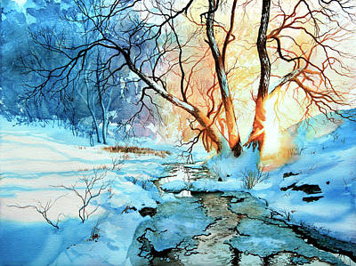 Winter Scene Artists Painting - Drawn To The Sun by Hanne Lore Koehler