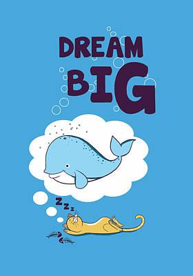Funny Cat Digital Art - Dream Big by Neelanjana  Bandyopadhyay