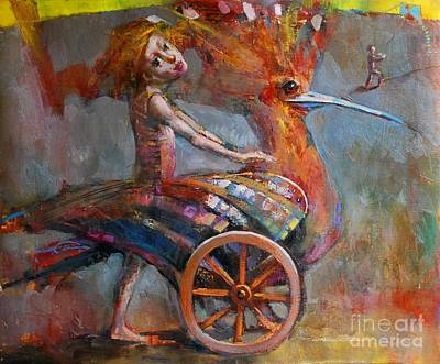 Kids Flying Kite Painting - Dream Bird by Michal Kwarciak