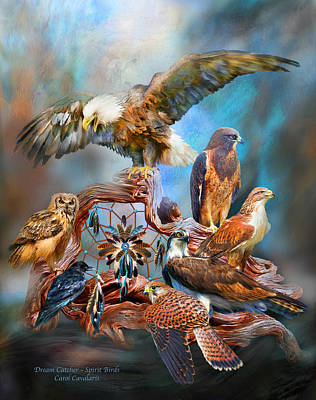 Dream Catcher - Spirit Birds Print by Carol Cavalaris