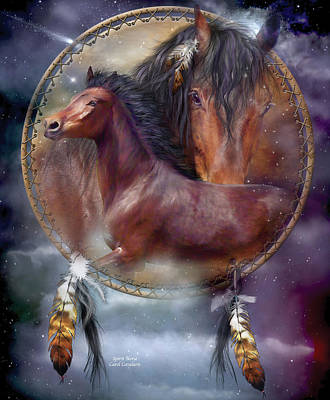 Animal Art Giclee Mixed Media - Dream Catcher - Spirit Horse by Carol Cavalaris