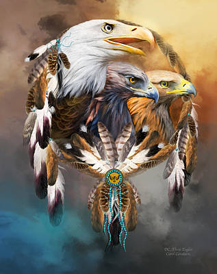 Eagle Mixed Media - Dream Catcher - Three Eagles by Carol Cavalaris