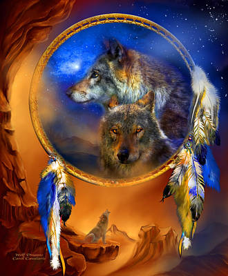 Spirit Catcher Painting - Dream Catcher - Wolf Dreams by Carol Cavalaris
