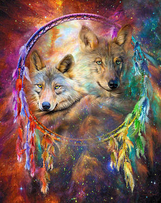 Wolves Mixed Media - Dream Catcher - Wolf Spirits by Carol Cavalaris