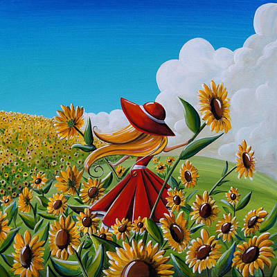 Sunflower Field Painting - Dream Chaser by Cindy Thornton