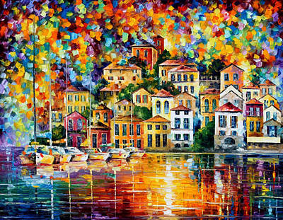Dream Harbor - Palette Knife Oil Painting On Canvas By Leonid Afremov Original by Leonid Afremov