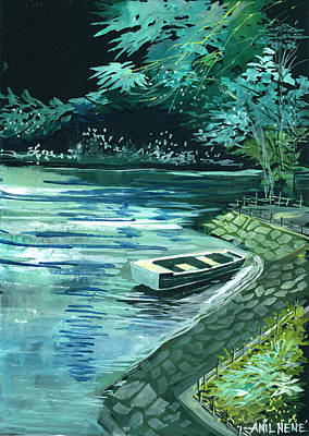 Mystic Drawing - Dream Lake by Anil Nene