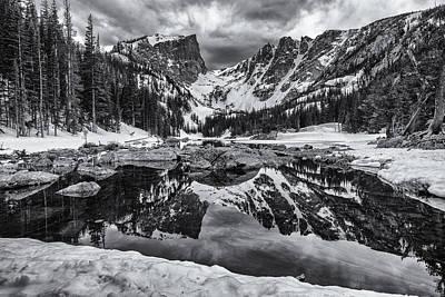 Dream Lake Morning Monochrome Print by Darren  White