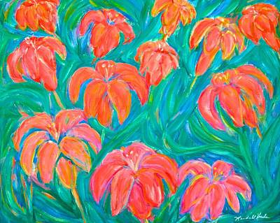 Green Painting - Dream Lilies by Kendall Kessler