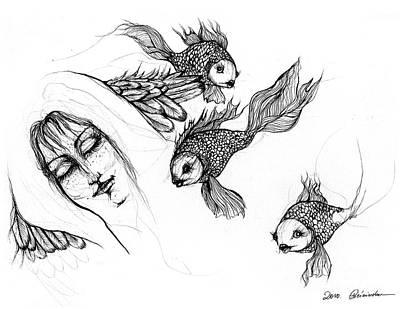 Goldfish Drawing - Dream Of Goldfish by Angel  Tarantella